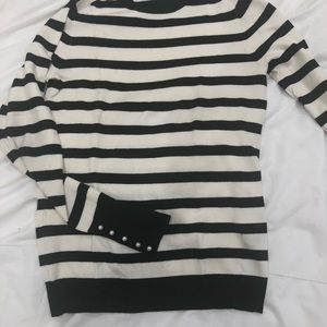 Zara Striped sweater, pearl detail on sleeve. S/XS